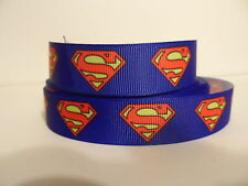 Grosgrain Ribbon, Super Hero Superman Symbol Faster Than A Speeding Bullet 7/8""