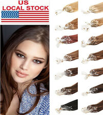 "100S 50g 16""18""20""Long Loop Micro Ring Beads Remy Real 100% Human Hair Extension"