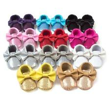 0-18M Baby Tassel Soft Sole Leather Bling Bowknot Shoes Infant Toddler Moccasin