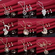 Mom's Day Gift Crystal Heart Pendant Necklace Ring Earring Wedding Jewellery Set