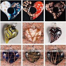 Womens Stripe Foil Murano Lampwork Glass Love Heart Flower Charms Pendant Bead