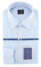 New $600 Luigi Borrelli Light Blue Shirt - (EV06400470STEFANO)