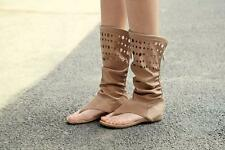Summer women flat Gladiator Shoe pull on sandal boots hollow out knee high heel