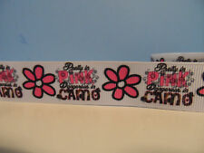 """Grosgrain Ribbon, Pretty In Pink, Dangerous in Camo with Pink Daisy, 7/8"""""""