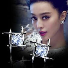 New Fashion Women Lovely Elegant Crystal Rhinestone Square Ear Stud Earrings Hot