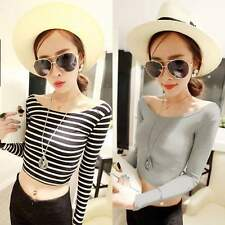 Sexy Women's Boat Neck Crop Striped Long Sleeve Slim Blouse Tops T Shirt