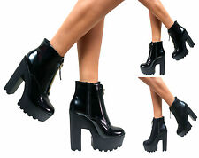 LADIES WOMENS CHUNKY CLEATED SOLE HIGH HEEL PLATFORM ZIP UP ANKLE BOOTS SHOES