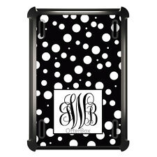 Monogrammed OtterBox Defender for ipad Mini / Air Black White Dot Black Initials