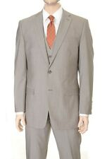 Calvin Klein Slim Fit Light Tan Stepweave Two Button Three Piece Wool Suit