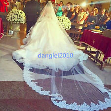 White Ivory 2T Cathedral Bridal Wedding Veils Lace Edge 3 M Free Comb Custom