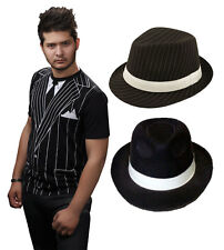 New Adults Ganster T-Shirt Stripy Gangster Hat Fancy Dress Outfit