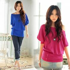 NEW Sexy Women's Trendy OFF-Shoulder Cotton Blends Top T-Shirt Buttons Blouse