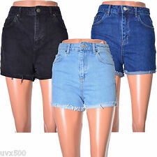 Denim shorts girlfriend fit rolled hem high waisted uk size 6 8 10 14 16