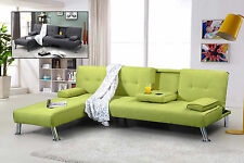 Modern Fabric L Shape 3 Seater Sofa Bed & 1 Seater Chaise Longue Grey Green