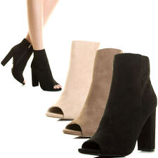 Women Peep Toe Chunky Block Thick High Heel Ankle Booties Boot Faux Suede Zip US