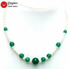 """SALE Round 5-6mm White Natural pearl and 6-12mm green jade 17"""" Necklace -nec5918"""
