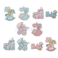 10 Wooden Boy/Girl Card Embellishments For Baby Shower Party Favors Decor Crafts