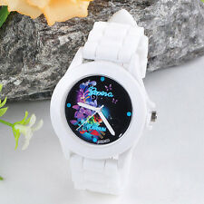Shop MENS Geneva Quartz Silicone Jelly Wristwatch Flower Print Dial Watches