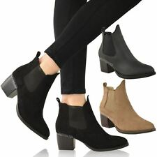 NEW WOMENS LADIES CHELSEA BOOTS LOW MID BLOCK HEEL PULL ON POINTED TOE SIZE