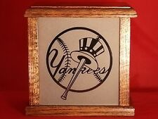New York Yankees Light Box With Etched Glass Front & Solid Oak Wood Made in USA