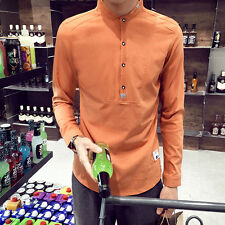 Fashion Slim Fit Men's Solid Color Shirt Stand Collar Long Sleeve Casual Shirt s
