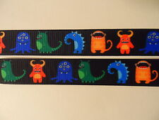 """Grosgrain Ribbon, Colorful Funny Monsters, Little Boy Toys, Cartoons, 7/8"""" Wide"""