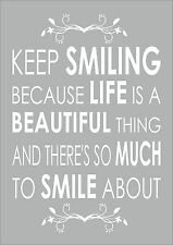 MARILYN MONROE QUOTE - KEEP SMILING BECAUSE LIFE IS A Inspiring Motivational