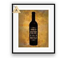 "Wine Quote Bar Art ""Wine is Poetry in a Bottle"" Rustic Poster Artwork Print Gift"