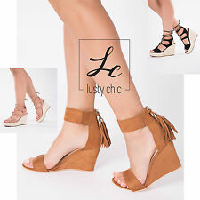 Women Ladies Beige High Heel Platform Ankle Strap Wedge Sandal Wedge Shoe Size