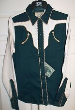 Roper Old West Classic Green/Cream w/2-toned Piping Trim Shirt