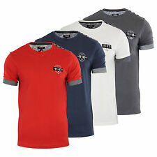 Mens T Shirt Firetrap Brimley Crew Neck Cotton Chambray Detail Casual Top