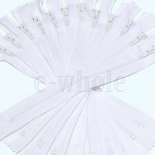 Lots of 9Inch Nylon Coil Invisible Sewing Zipper Tailor Sewer Craft White TW