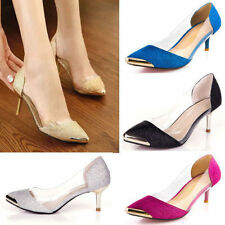 Womens Glitter Platforms Stilettos Pointed Low Heels Casual shoes Big size