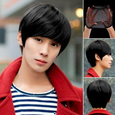 New Fashion Man's Neutral Short Straight Wigs Cosplay Full Wig & Wig Cap 3colors
