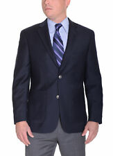 Tasso Elba Classic Fit Navy Blue Wool Blazer Sportcoat With Patch Pockets