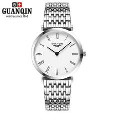 GUANQIN Fashion Men Women Quartz Wristwatch Gold Silver Steel Crystal Watch S9G0