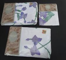 Vtg Coventry Manor Twin Comforter Cover Ruffle Pillow Sham Violet Purple Flowers