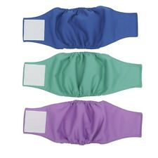 Male Dogs Diapers Washable Dog Belly Wrap Blue Green Purple XS - XL (Pack Of 3)