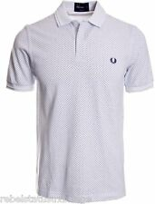 FRED PERRY T-Shirt Men's Pin Dot Print Slim Fit Polo M 9309 White Size: XX-LARGE