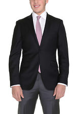 Mens Extra Slim Fit Solid Black Two Button Super 140's Wool Blazer Suit Jacket