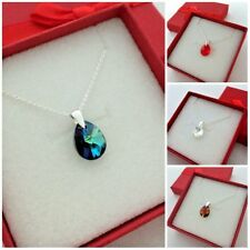 12 mm Swarovski Elements Mini Pear Crystal Pendant Necklace Colors in Gift Box