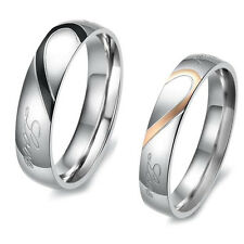 Wedding Cool Lover Titanium Steel Heart Finger Band Ring Jewelry Couple h
