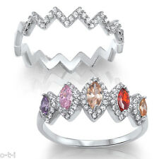 Multi Color Simulated Diamond Marquise Genuine Sterling Silver Ring Set