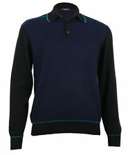 Stefano Ricci Men's Blue/Black Cashmere & Silk Knitted Polo Sweater S,L,XL,3XL