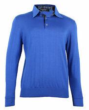 Stefano Ricci Men's Blue Cashmere & Silk Knitted Polo Sweater, size 50 (M)