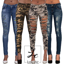 Women Sexy Camouflage Army Print Stretch Ripped Skinny Jeans Trousers Size 6-16