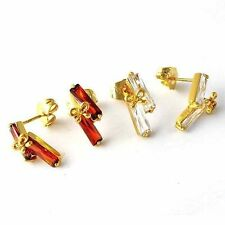 14k Gold Plated Clear gemstone Red Ruby Womens cute bow lucky Stud Earrings