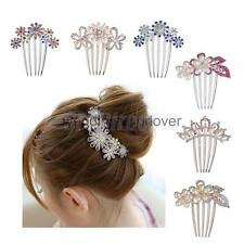 Diamante Crystal Rhinestone Hairpin Flower Hair Clip Comb Wedding Jewelry