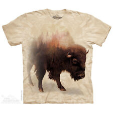 THE MOUNTAIN BISON BUFFALO GRAZING EATING CATTLE  ANIMAL NATURE T SHIRT S-5XL