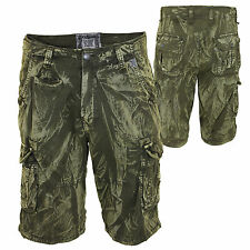 Mens Cargo Combat Camouflage Faded Two Tone Khaki Drawstring Waist Shorts